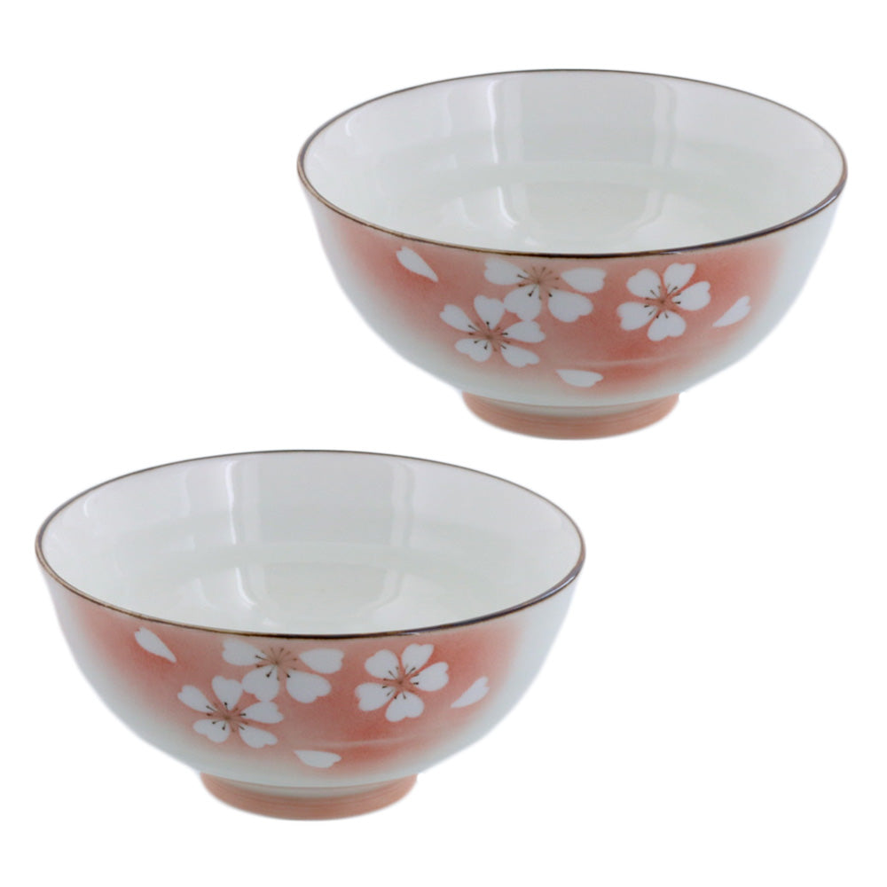 "Hanafubuki 4.6"" Porcelain Floral Rice Bowls Set of 2 - Red"