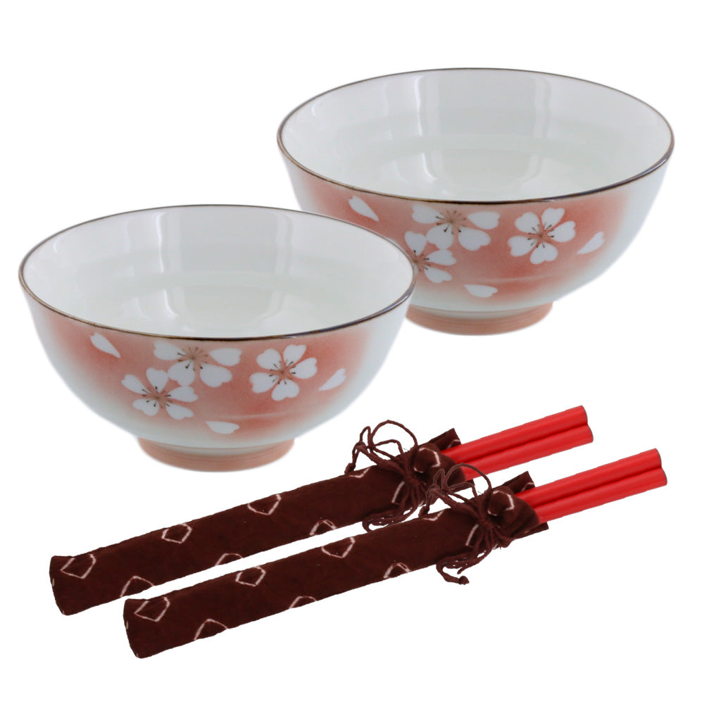 "Hanafubuki 4.6"" Porcelain Floral Rice Bowls with Chopsticks Set of 2 - Red"