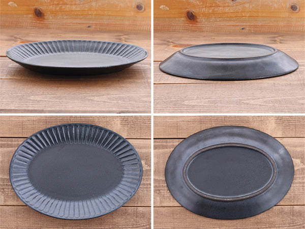 "10.4"" Shinogi Oval Ceramic Dinner Plates Set of 2 - Black"