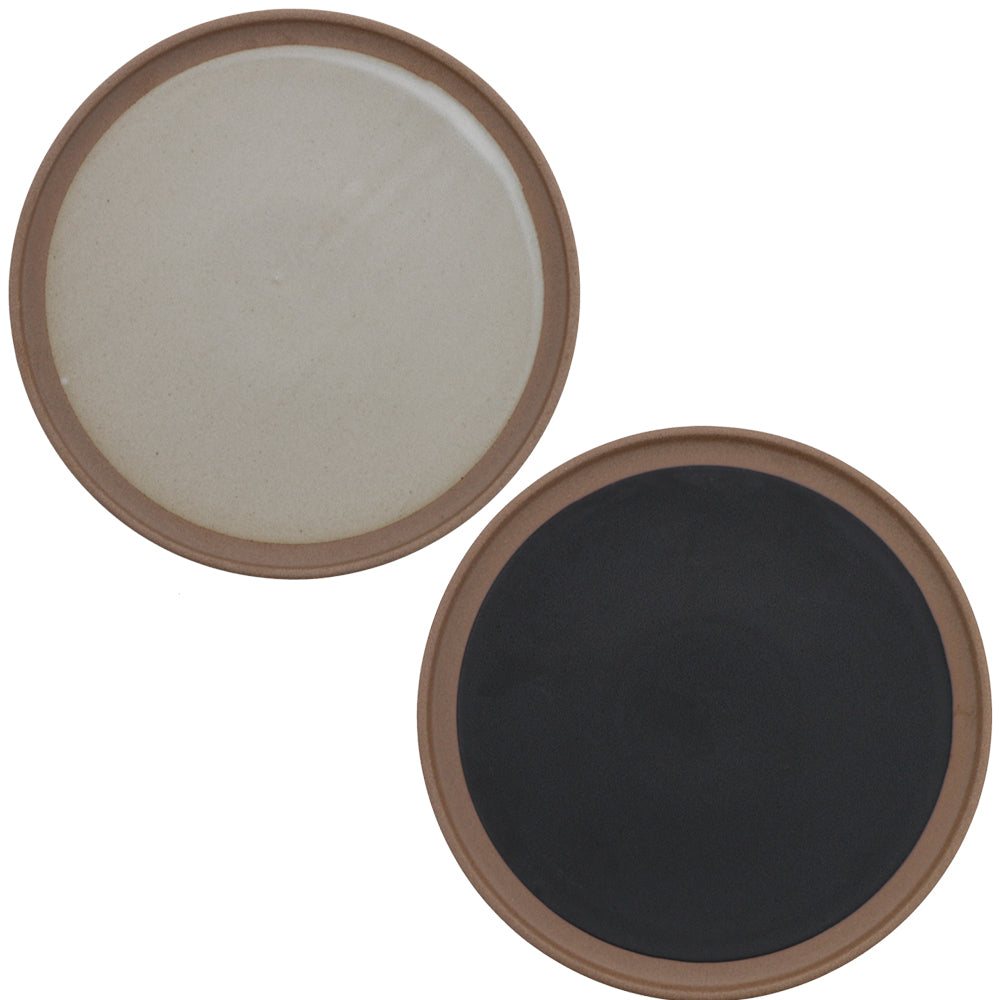 "9.2"" Red Clay Ceramic Flat Round Dinner Plates Set of 2 - Black and Beige"