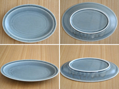 "10.7"" Dotted Oval Dinner Plates Set of 2 - Matte Gray"