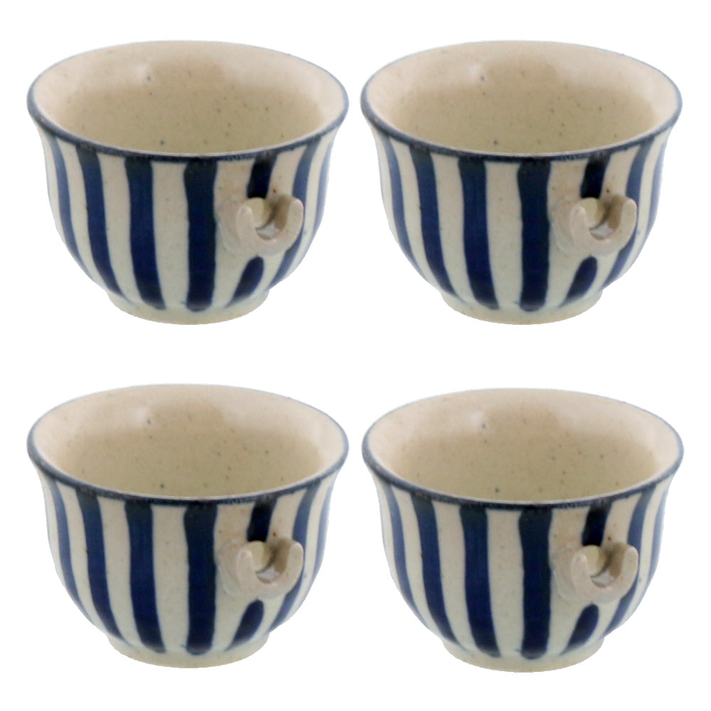 Tokusa Mini Hand-Drawn Spout Bowl Set of 4 - Blue and White