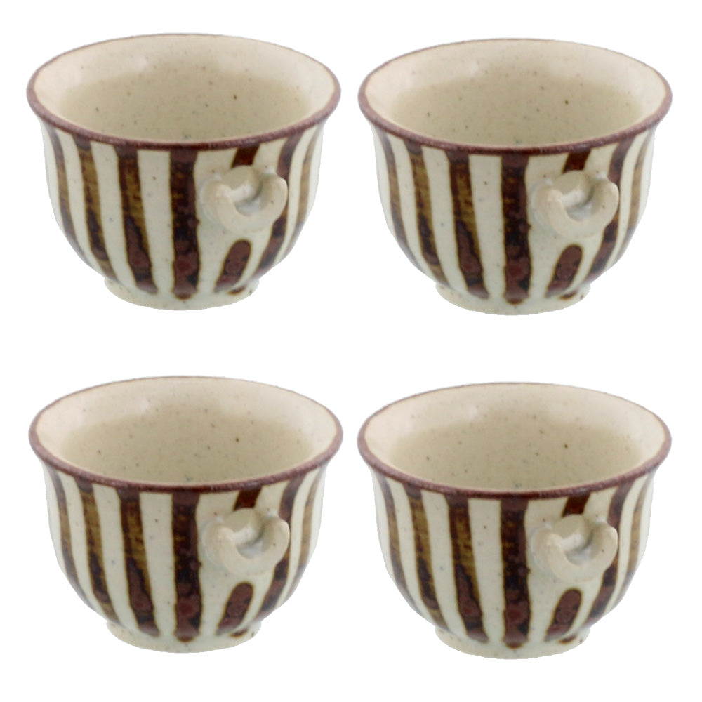 Tokusa Mini Hand-Drawn Spout Bowl Set of 4 - Brown and White