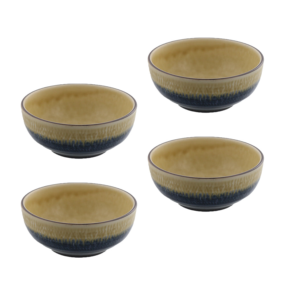"RURI 4.4"" Appetizer Bowls Set of 4 - Yellow/Blue"