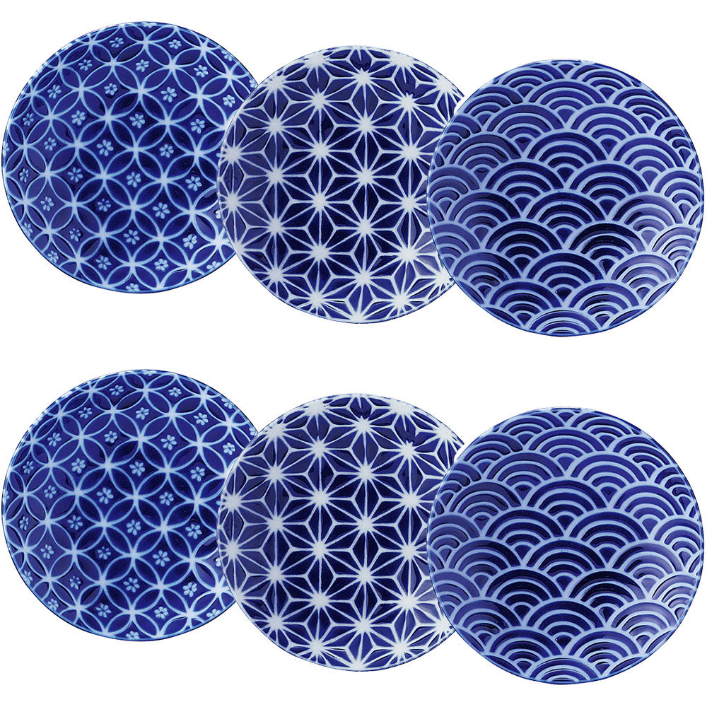 "4.9"" Traditional Round Plates 6 Piece Set - Blue"
