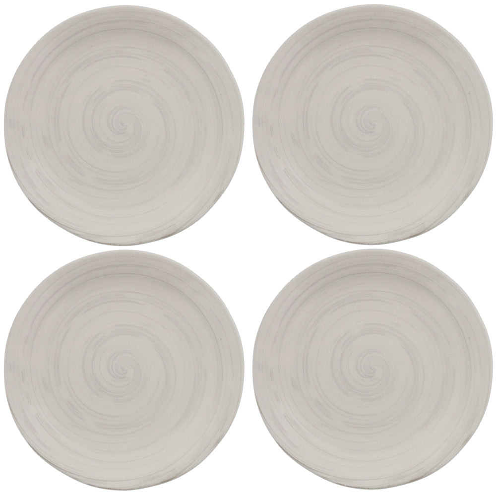 Cream Salad Plate Set of 4 - Spiral
