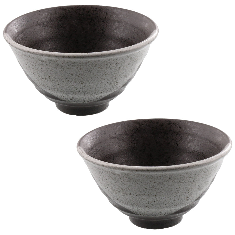 Ceramic Rice Bowl Set of 2 - Black/Gray