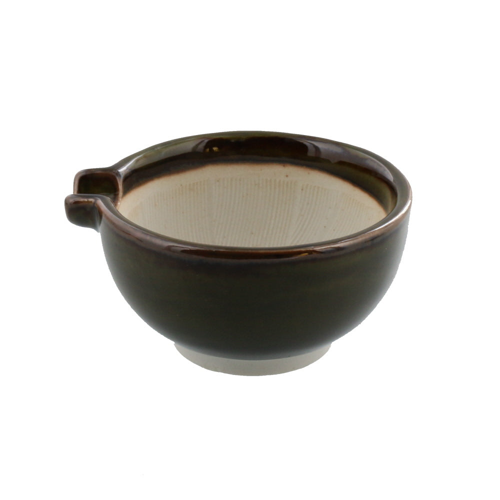 Ceramic Mortar (Suribachi) with Spout 4.7 inches Handmade Round-Shape Green-Brown (Oribe)
