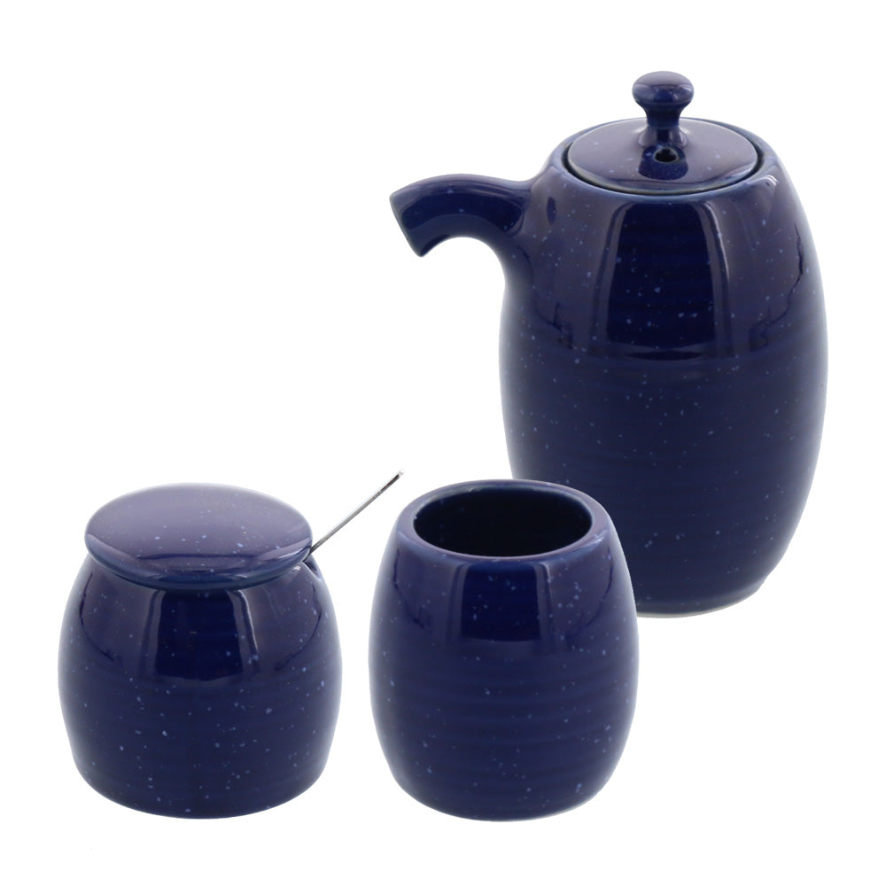 Blue Porcelain Sauce Dispenser Bottle, Condiment Pot and Toothpick Holder Set - Starry Sky