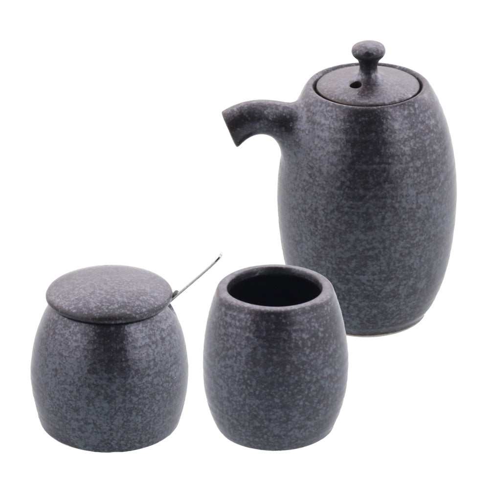 Porcelain Sauce Dispenser Bottle, Condiment Pot and Toothpick Holder Set - Silver/Black