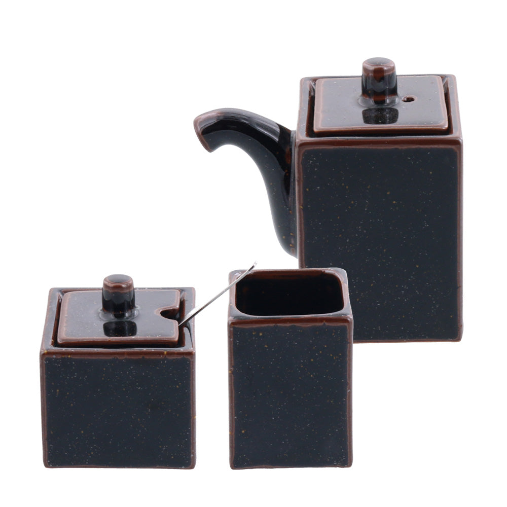 3-Piece Porcelain Brown Condiment Set, Oil and Sauce Dispenser Bottle, Seasoning and Condiment Pot, Toothpick Holder - Tenmoku