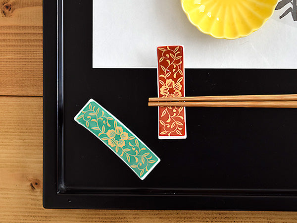 Chopstick Holders Beautiful Japanese Arabesque Design (Cutlery Rest) Set of 4 (2 Red & 2 Green) Flowers