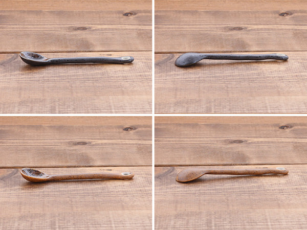 Ceramic Coffee Spoon Set of 10 - Shigaraki and Kurobuki