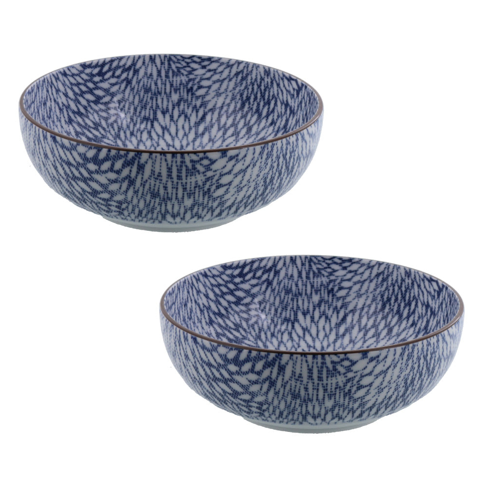 "Nijimi Sometsuke 6.1"" Blue Appetizer Bowls Set of 2 - Mujina Kiku"