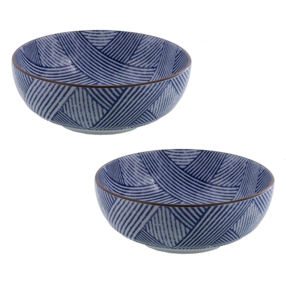 "Nijimi Sometsuke 6.1"" Blue Appetizer Bowls Set of 2 - Shimakoushi"