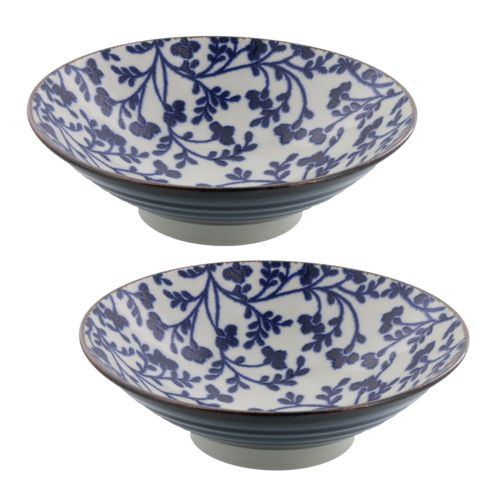 Wide and Shallow Floral Noodle Bowls Set of 2 - Kusabana