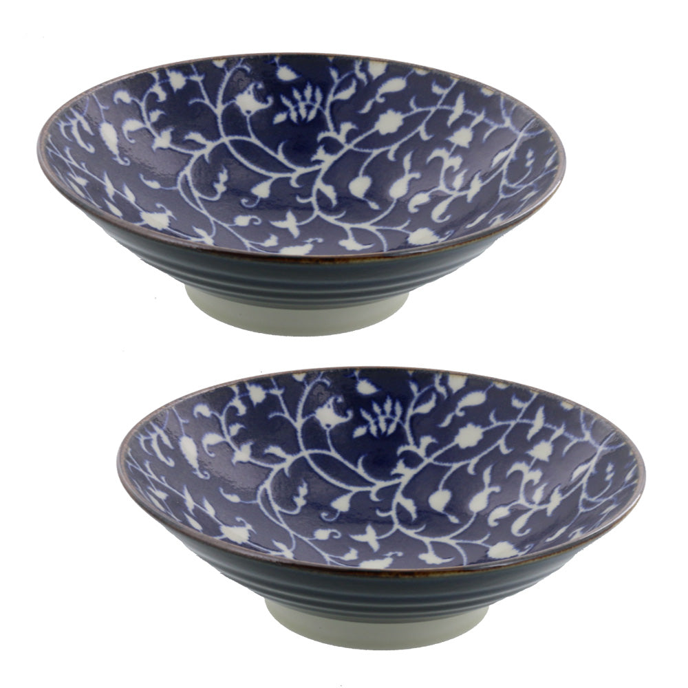 Wide and Shallow Floral Noodle Bowls Set of 2 - Hanakarakusa