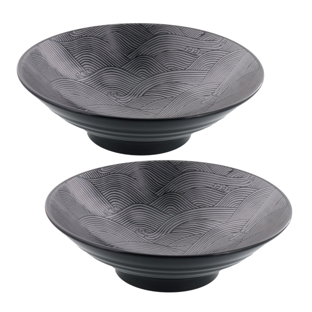 Kaiha Gindami Wide and Shallow Ocean Wave Noodle Bowls Set of 2 - Black