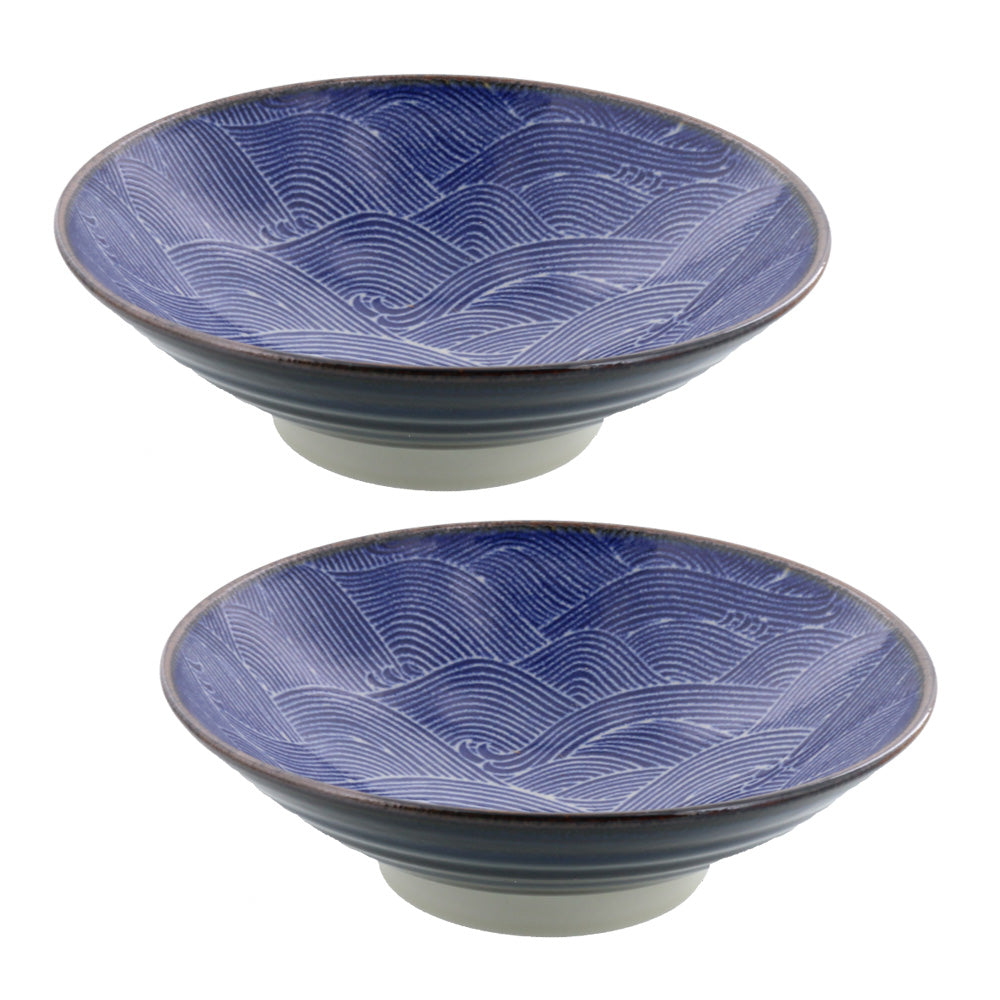 Kaiha Wide and Shallow Ocean Wave Noodle Bowls Set of 2 - Blue