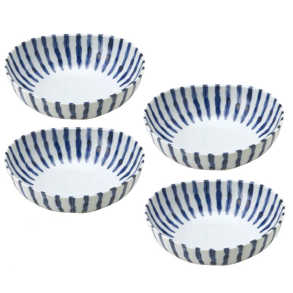 Tokusa Blue and White Stripe Appetizer Bowl Set of 4 - Small