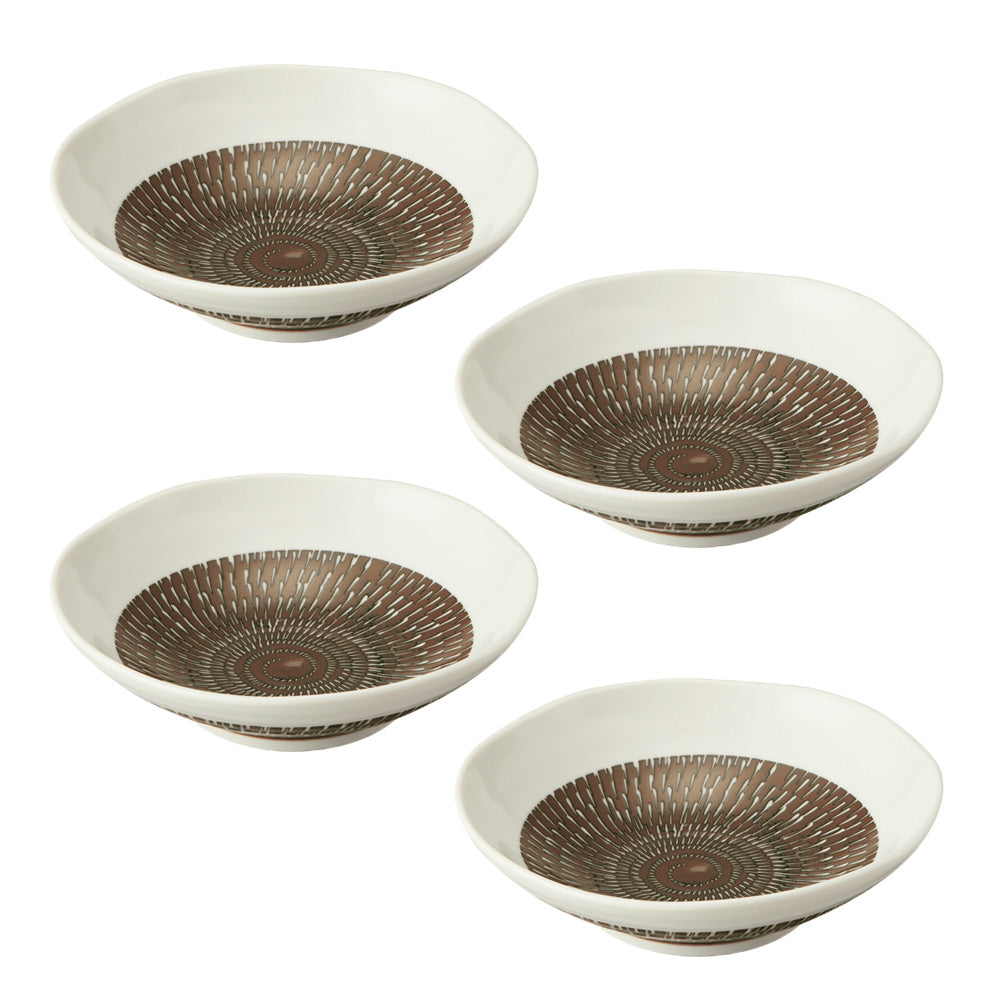 "Tobikanna 6.7"" Shallow Appetizer Bowl Set of 4 - Brown"