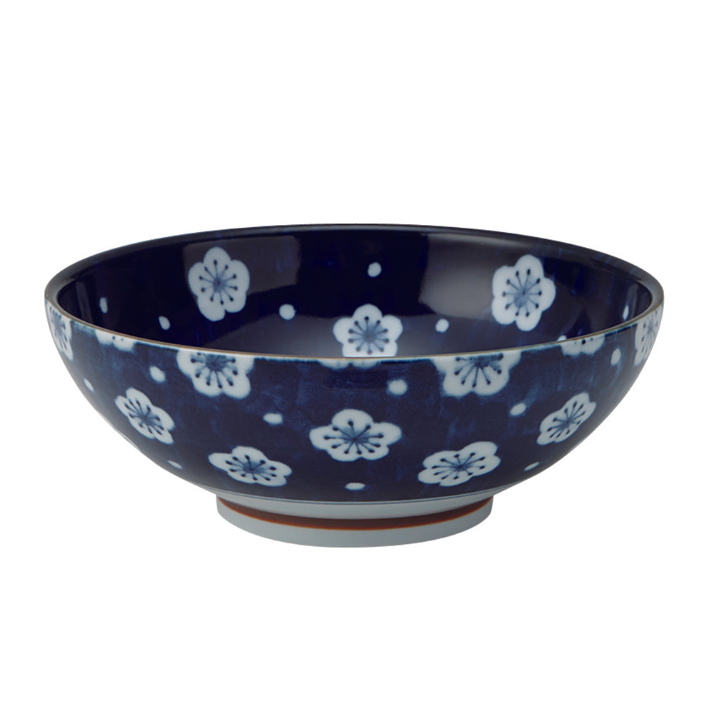 Large 51 oz Wide Mouth Ramen, Donbri Bowl Japanese Plum Blossoms (Fukubuku Ume)