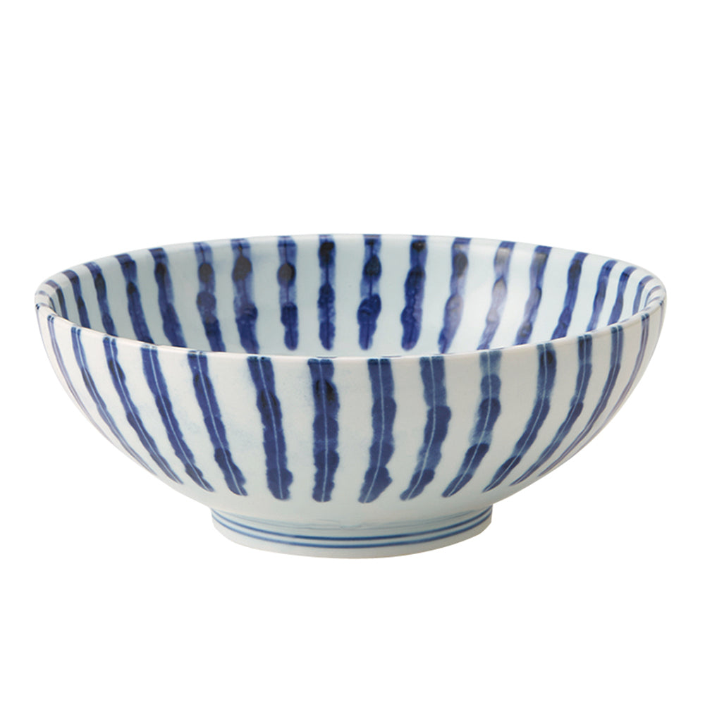 Large 51 oz Wide Mouth Ramen, Donburi Bowl Japanese Simple Arabesque/Thick Stripes (Dami Tokusa)