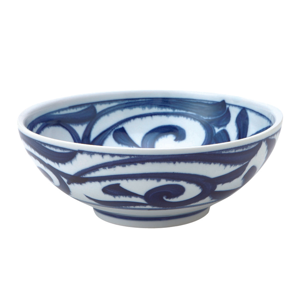 Large 51 oz Wide Mouth Ramen Noodle, Donburi Bowl Japanese Thick Arabesque (ISO Karakusa)