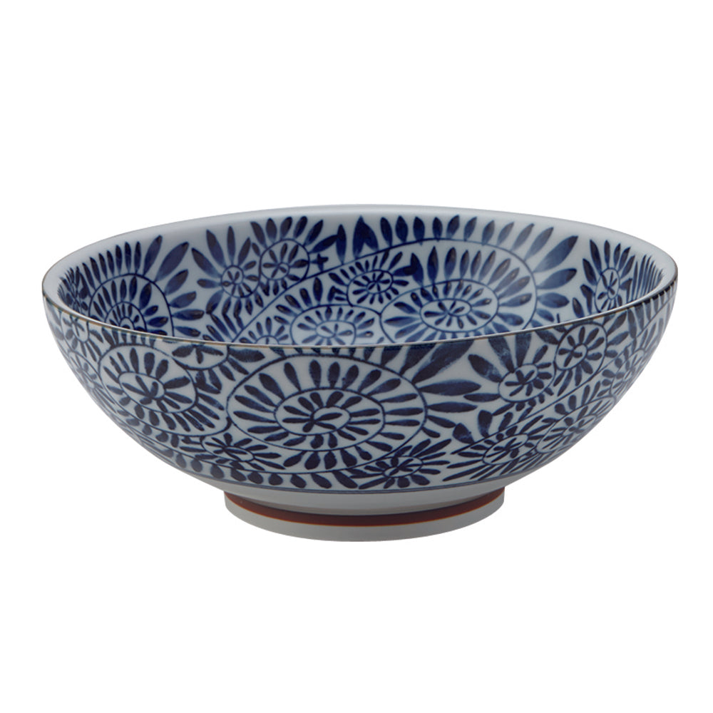 Large 51 oz Wide Mouth Ramen, Donburi Bow Indigo Octopus Arabesque (Aizome Tako Karakusa)