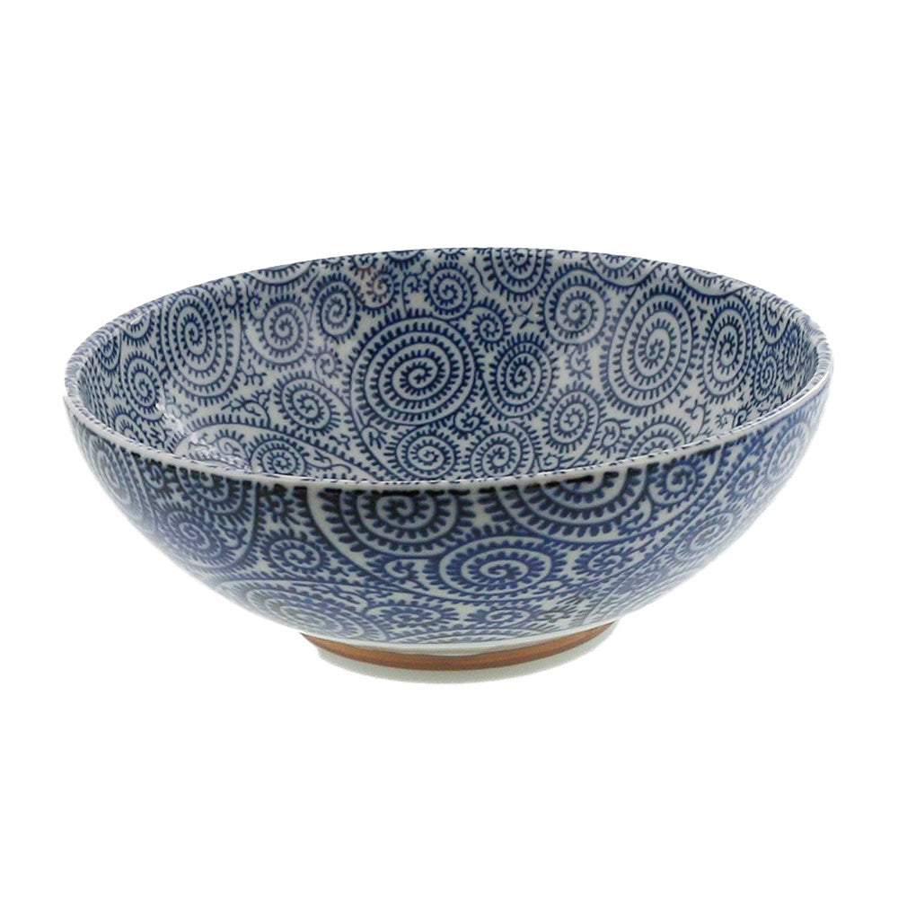Large 51 oz Wide Mouth Ramen Noodle, Donburi Bowl Blue and White Octopus Arabesque (Kosome Tako Karakusa)