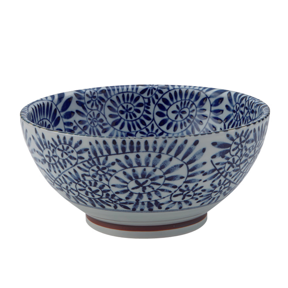 Large 40 oz Ramen, Donburi SANUKI Bowl Indigo Arabesque Print