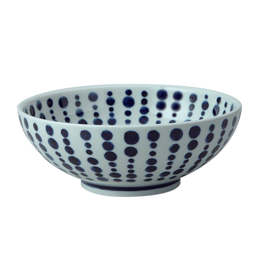 Large 51 oz Wide Mouth Ramen, Donburi Bowl Japanese Polka Dot (Tenmon)
