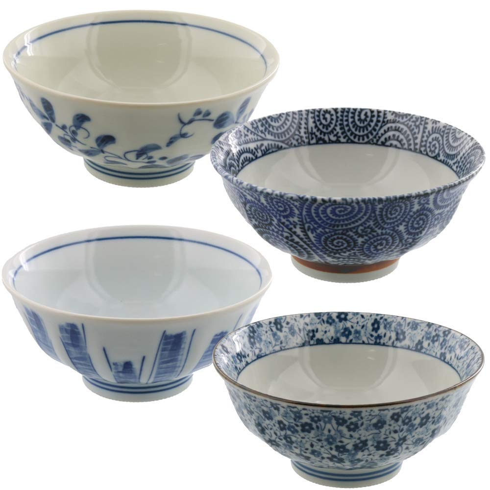 Larger Rice Bowl Set of 4 Japanese Retro Design White x Blue