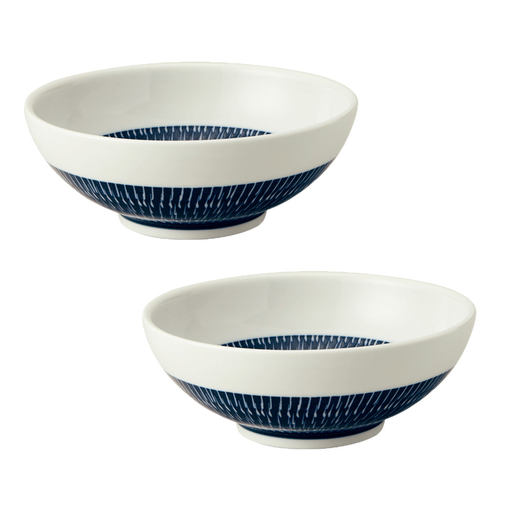 Tobikanna Wide and Shallow Noodle Bowls Set of 2 - Navy Blue
