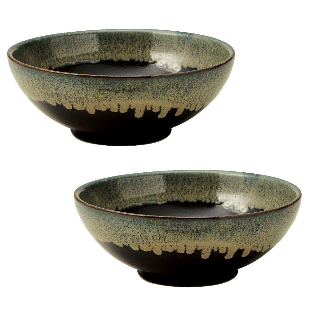 Tenmoku Shironagashi 54.1 oz Multi-Purpose Ramen Noodle Bowls Set of 2