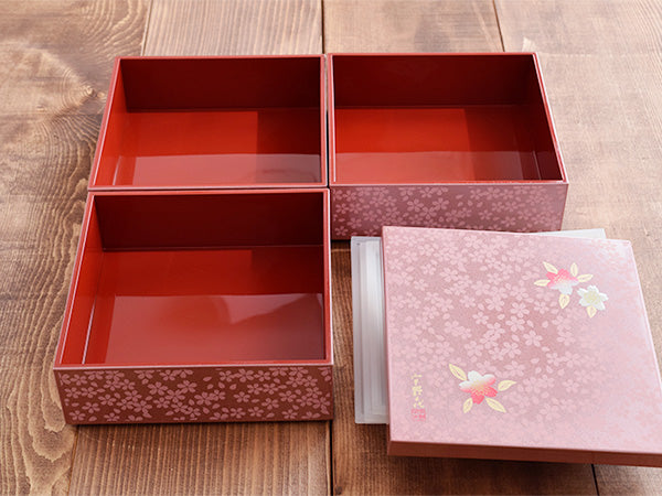 3-Tiered Pink Square Jubako Box with 4 Sets of Red Chopsticks - Sakura