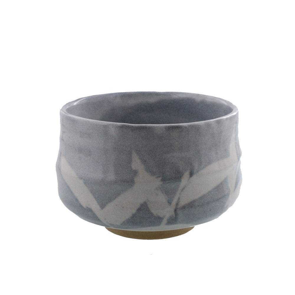 Authentic 22 oz Pottery Matcha Tea Cup Japanese Pampas Grass Design Penetration (Cracking) Treatment Handmade Comes in a Box