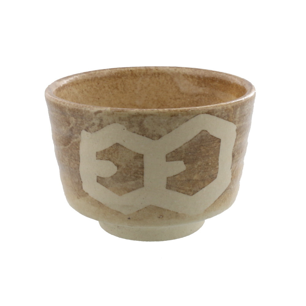 Authentic 17.5 oz Pottery Matcha Tea Cup Chubby Body Beige Penetration (Cracking) Design  Handmade Comes in a Box