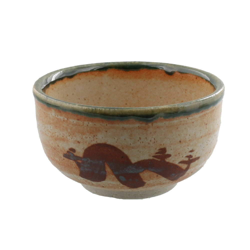 Authentic 17.5 oz Pottery Matcha Tea Cup Chubby Body Green x Orange Penetration (Cracking) Design  Handmade Comes in a Box