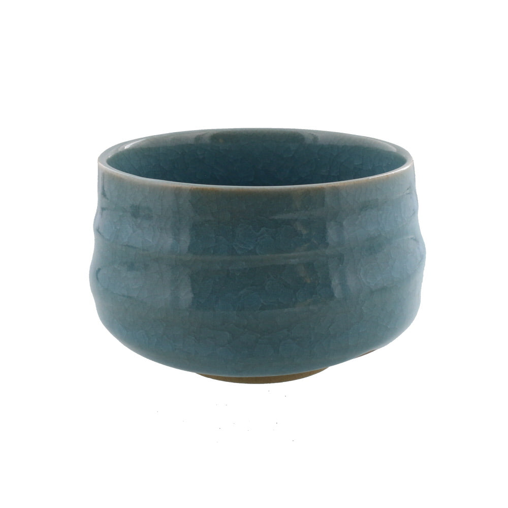 Authentic 22 oz Pottery Matcha Tea Cup Blue Penetration (Cracking Like Crystals)  Handmade Comes in a Box