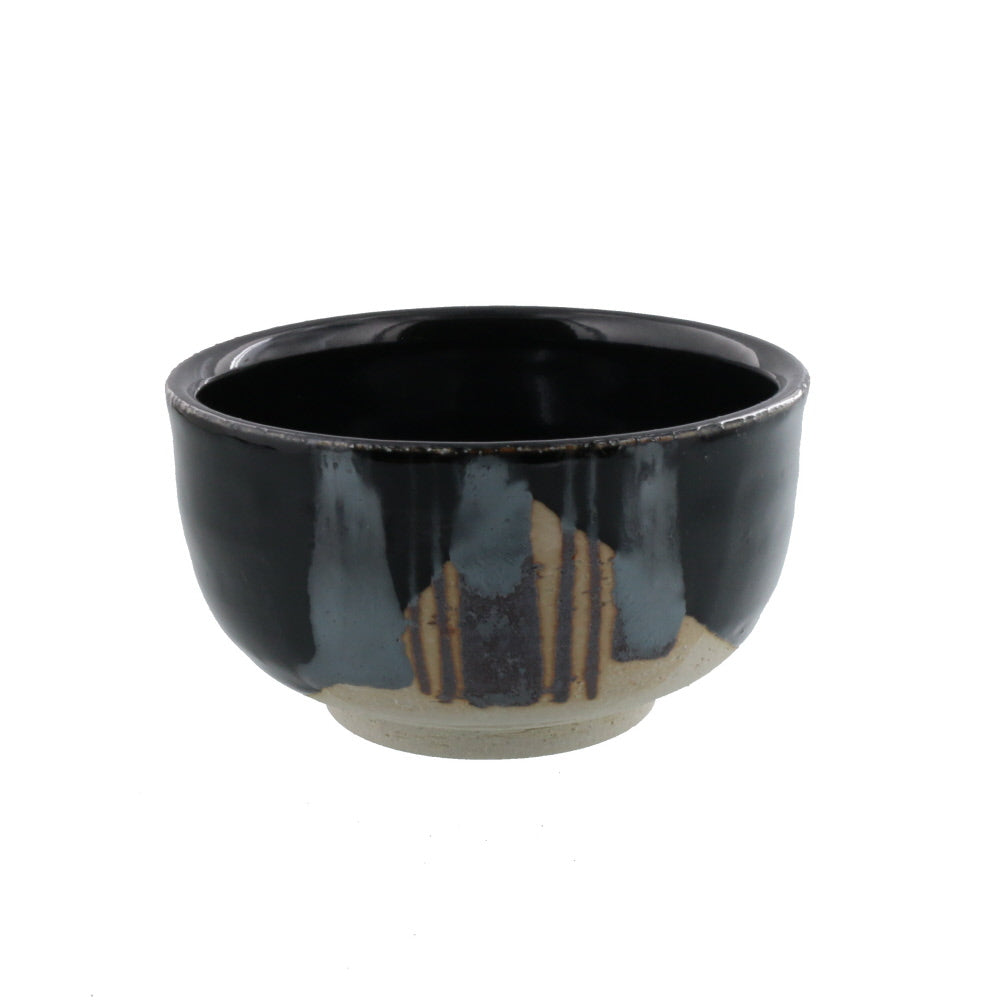 Authentic 17.5 oz Pottery Matcha Tea Cup Tenmoku Black with Grass Design Handmade Comes in a Box
