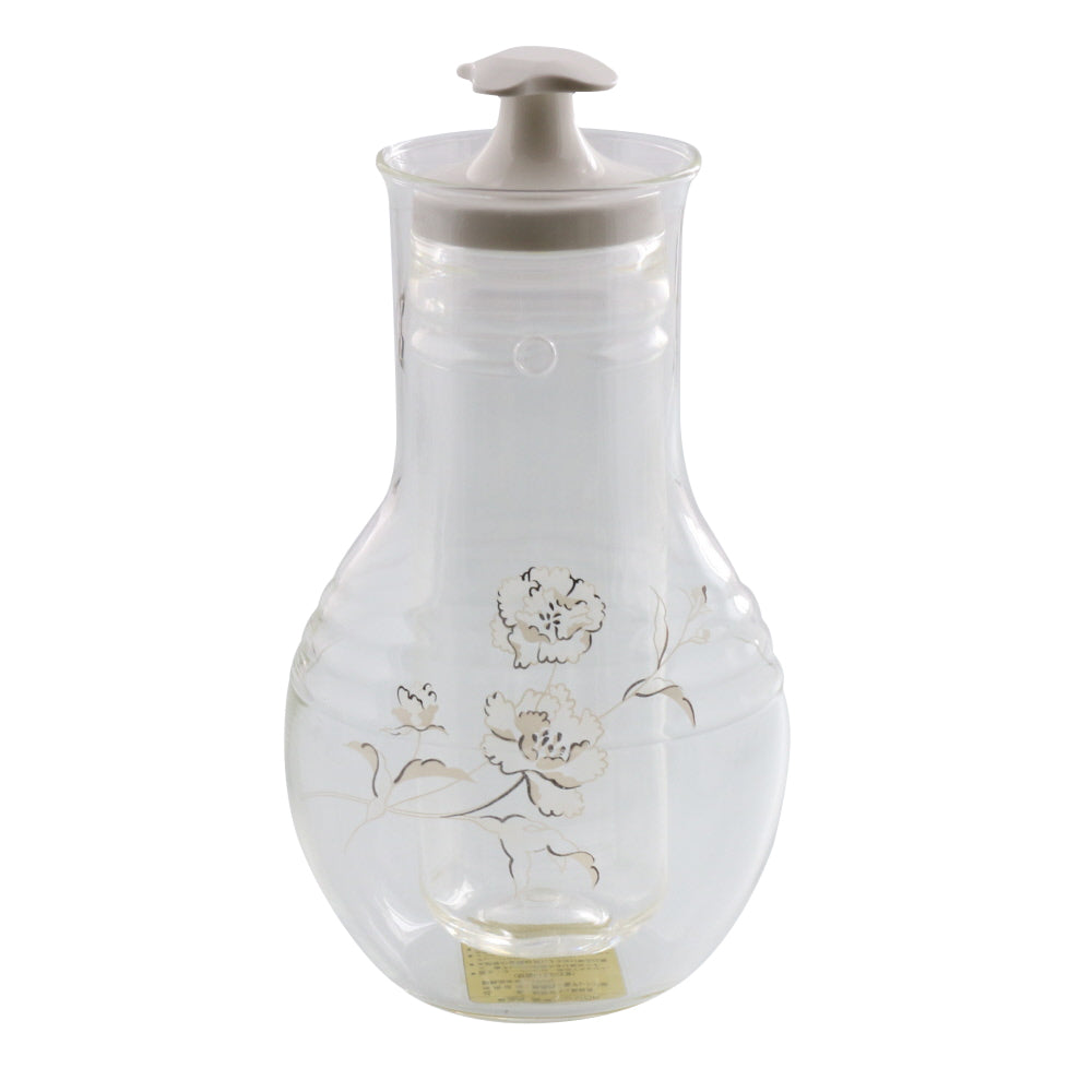 Glass Sake Bottle with Cooler - Carnation