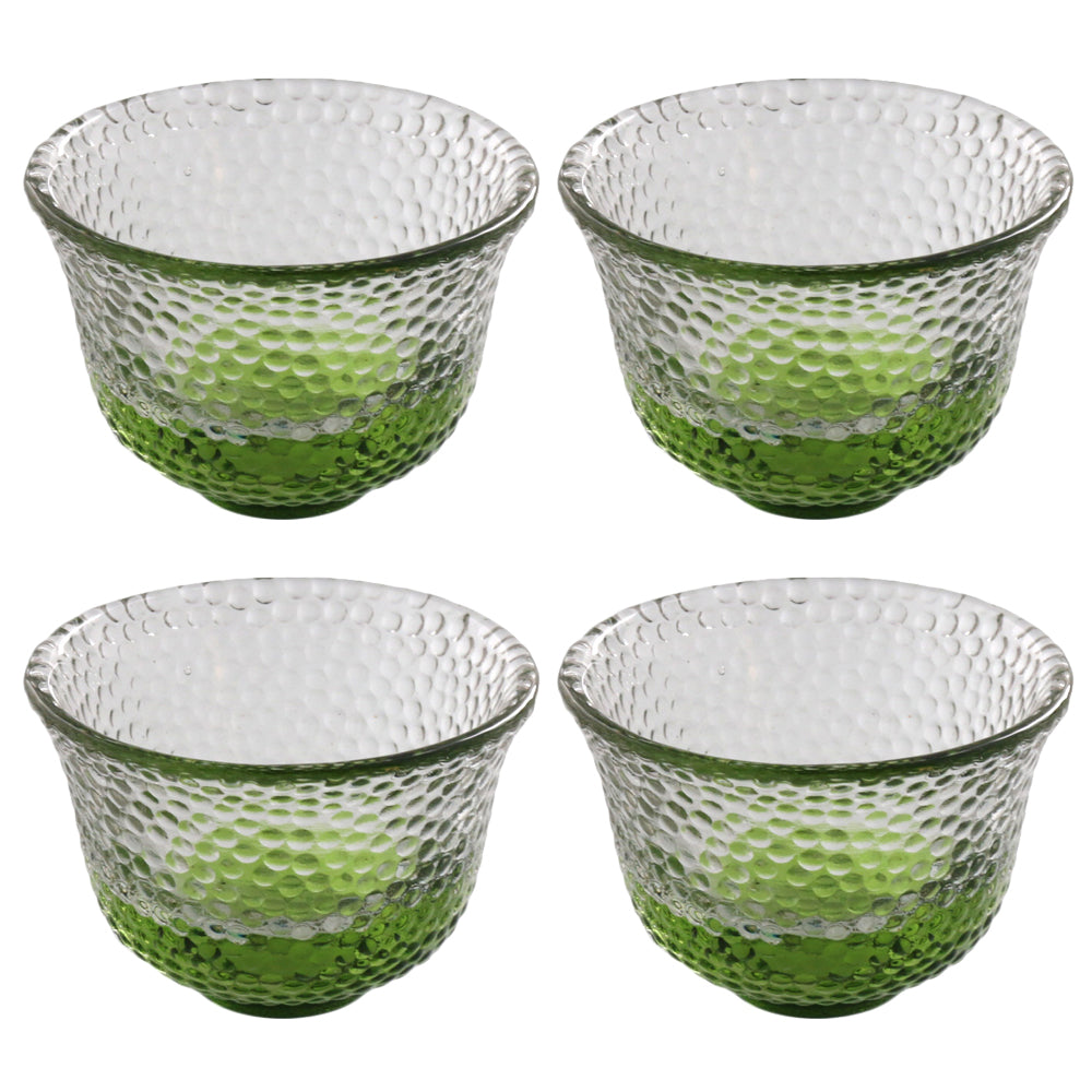 Clear Polka Dot Glass Sake Cup Set of 4 - Green