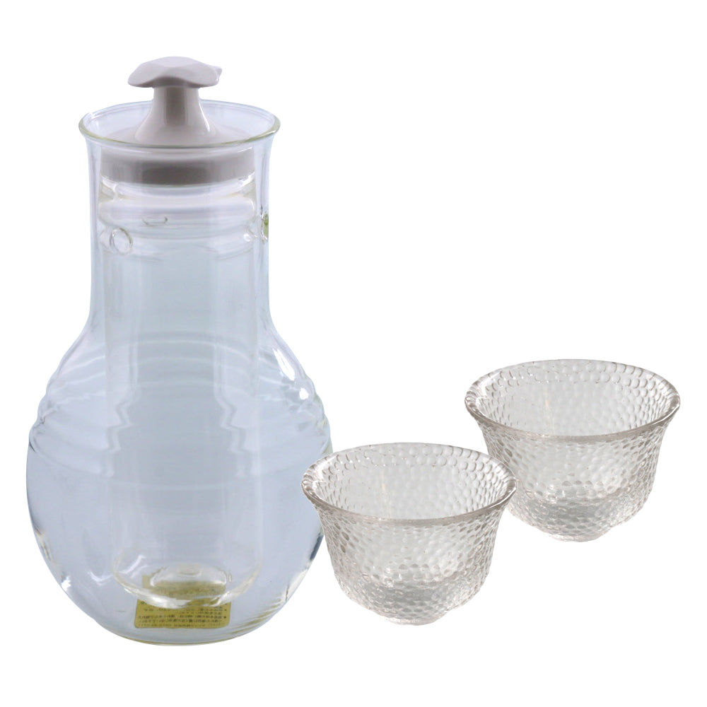 Glass Sake Bottle with Cooler and 2 Sake Cups