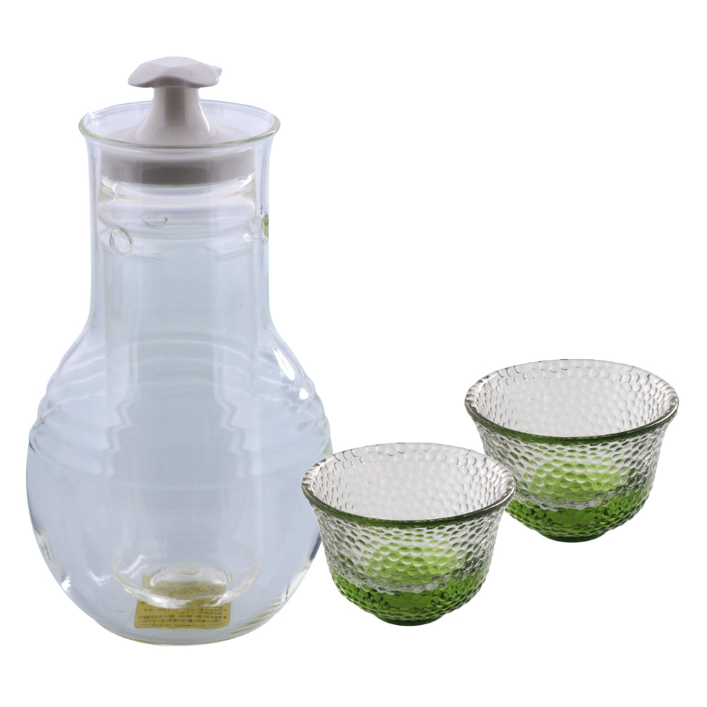 Glass Sake Bottle with Cooler and 2 Green Sake Cups Made in Japan