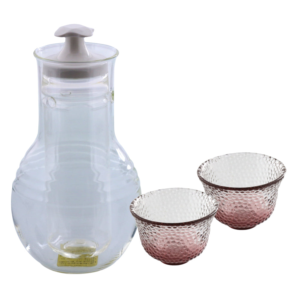 Glass Sake Bottle with Cooler and 2 Pink Sake Cups