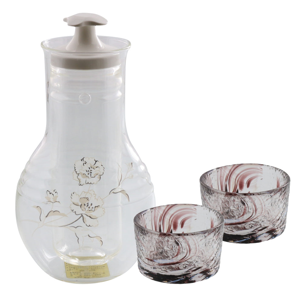 Glass Sake Bottle with Cooler and 2 Sake Cups - Carnation