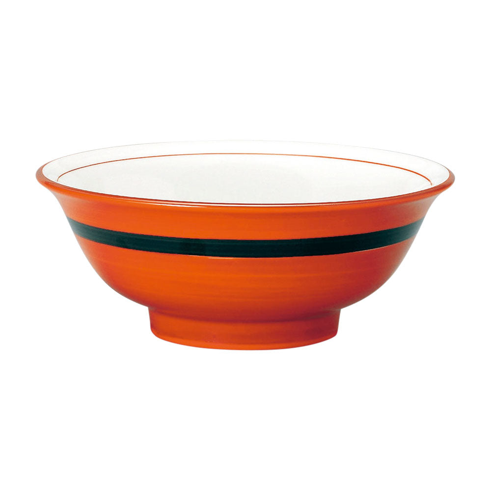 "8.4"" Red and White Donburi Bowl With Black Line"