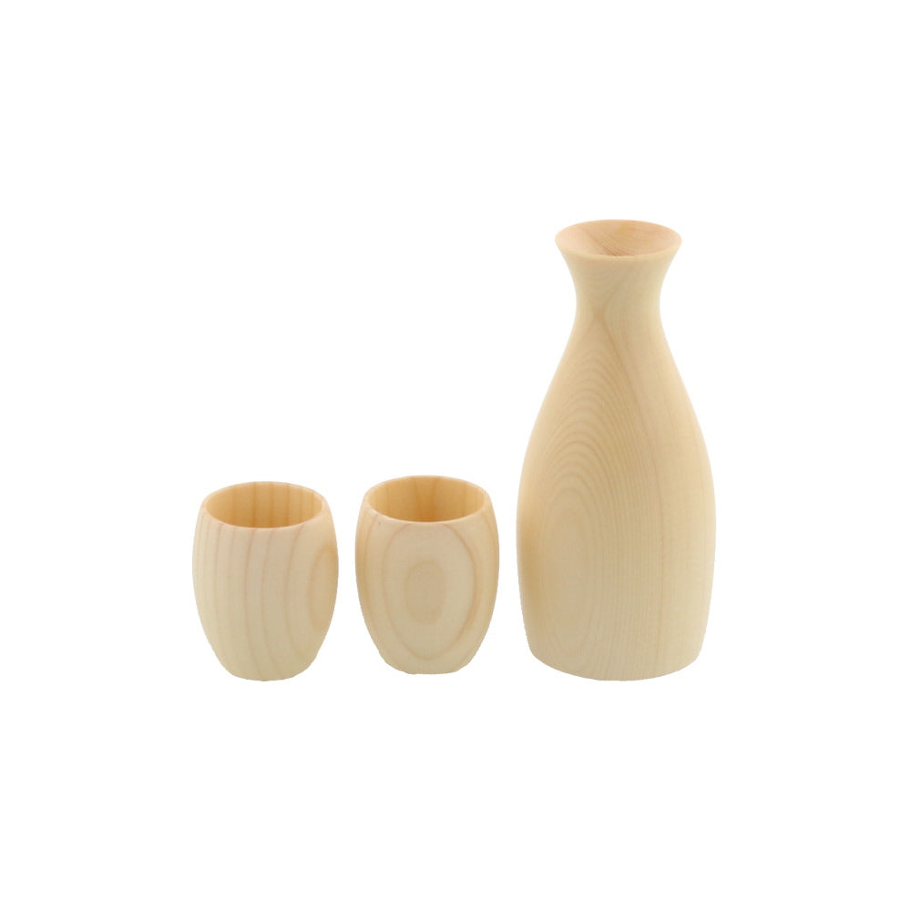 Wooden Cold Sake Bottle (Tokkuri) and 2-Piece Sake Cup (Guinomi) Set with Gift Box