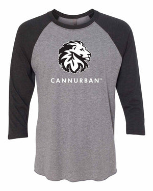 Cannurban Rasta Lion Logo Tri-Blend Three-Quarter Sleeve Baseball Raglan Tee - Gray